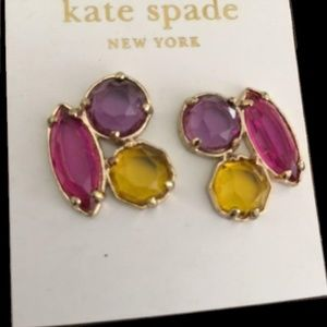 NEW Kate Spade Multi Trio Stone Cluster Earrings